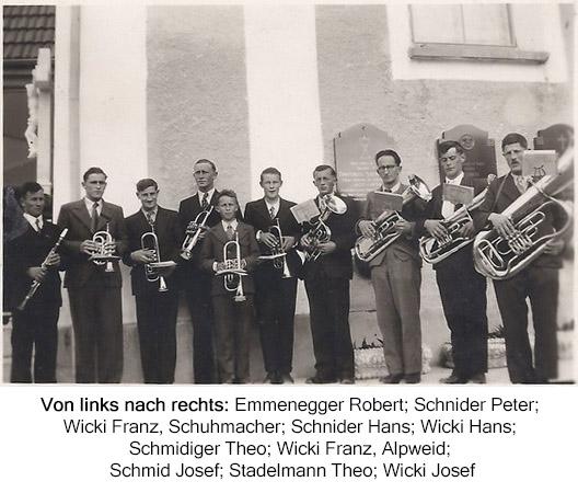 Von links nach rechts: Emmenegger Robert; Schnider Peter; Wicki Franz, Schuhmacher; Schnider Hans; Wicki Hans; Schmidiger Theo; Wicki Franz, Alpweid; Schmid Josef; Stadelmann Theo; Wicki Josef